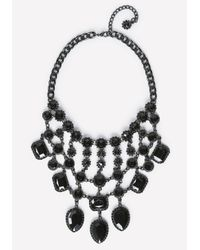Bebe | Black Tonal Bib Necklace | Lyst