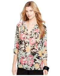 Lauren by Ralph Lauren | Pink Plus Floral Print Blouse | Lyst