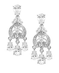 Adriana Orsini | Metallic Filigree Crystal Teardrop Chandelier Earrings/silver | Lyst