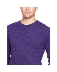 Polo Ralph Lauren - Purple Cable-knit Tussah Silk Sweater for Men - Lyst