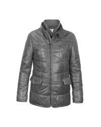 FORZIERI - Dark Gray Zip Leather Jacket for Men - Lyst