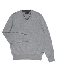 Paul Smith - Gray Men's Grey Marl V-neck Cotton-blend Sweater for Men - Lyst