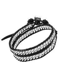 Aeravida - Black Silver Cable Links Genuine Leather Double Wrap Bracelet - Lyst