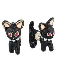 Betsey Johnson | Black Dark Shadows Cat Front Back Earrings | Lyst