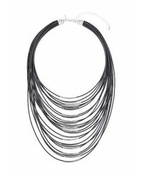TOPSHOP | Black Cord And Bar Multi-row Necklace | Lyst