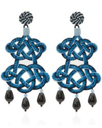 Anna E Alex | Blue and Black Chandelier Deco Earrings | Lyst