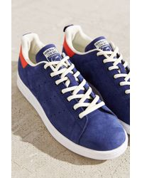 Adidas Originals - Blue Leather Nubuck Stan Smith Sneaker - Lyst