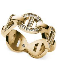 Michael Kors - Metallic Gold-Tone Pavé Link Ring - Lyst