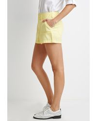 Forever 21 | Yellow Cuffed Linen-blend Shorts | Lyst