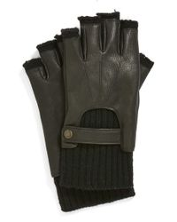 John Varvatos | Black Fingerless Driving Gloves for Men | Lyst