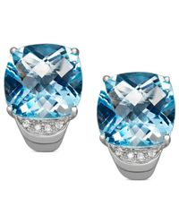 Macy's | Metallic Sterling Silver Earrings, Blue Topaz (1/4 Ct. T.w.) And Diamond Accent Stud | Lyst
