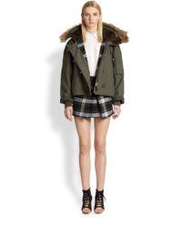 McQ Gray Asymmetrical Paneled Plaid Wool Mini Skirt
