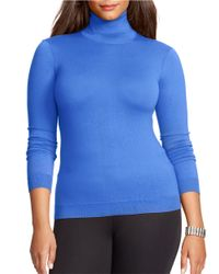 Lauren by Ralph Lauren | Blue Plus Silk Cotton Turtleneck Sweater | Lyst