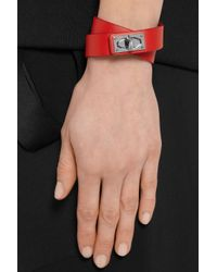 Givenchy - Red Shark Lock Bracelet In Leather And Palladium-tone Brass - Lyst