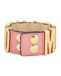Moschino - Blush Pink Leather Gold-plated Cuff - Lyst