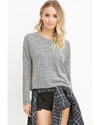 Forever 21 | Black Marled Loose-knit Grid Top You've Been Added To The Waitlist | Lyst