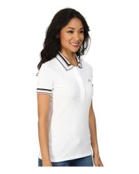 Lacoste - White Short Sleeve Contrast Tipped Collar Polo Shirt - Lyst