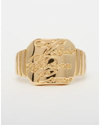 ASOS - Metallic Engraved Signet Ring for Men - Lyst