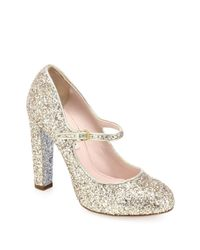 Miu Miu - Metallic Glitter Mary Jane Pumps - Lyst