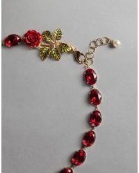"Dolce & Gabbana | Red ""rhinestone"" Necklace | Lyst"