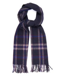 Dunhill | Blue Check Wool And Cashmere-blend Scarf for Men | Lyst