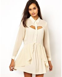 Finders Keepers - Natural Memphis Blues Long Sleeve Dress - Lyst