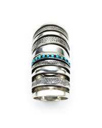 Pamela Love | Blue Double Cage Ring With Turquoise | Lyst