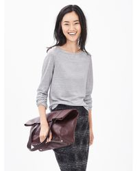 Banana Republic | Gray Metallic Linen Top | Lyst