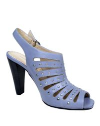 Adrienne Vittadini | Blue Gentri Leather Studded Slingback Sandals | Lyst
