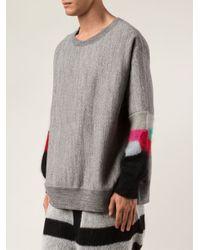 Facetasm - Gray Contrast Sleeve Sweater for Men - Lyst