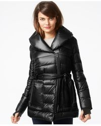 Kenneth Cole | Black Belted Quilted Down Puffer Jacket | Lyst