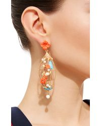 Of Rare Origin - Multicolor Lovebirds Coral, Turquoise, Bone & Freshwater Pearl Drop Earrings - Lyst