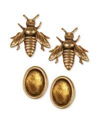 Lucky Brand - Metallic Lucky Goldtone Bee and Oval Stud Earrings Set - Lyst