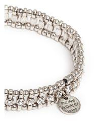 Philippe Audibert - White Amelia Bead And Small Crystal Elasticated Bracelet - Lyst