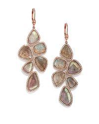 Meira T - Metallic Labradorite, Diamond & 14k Rose Gold Drop Earrings - Lyst