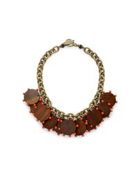 Lela Rose | Red Short Chainlink Cabochon Detail Necklace | Lyst