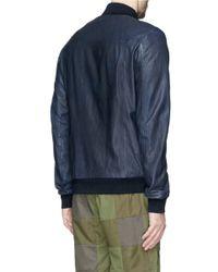 Scotch & Soda - Blue Leather Bomber Jacket for Men - Lyst
