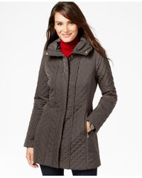 Jones New York | Gray Quilted Walker Coat | Lyst