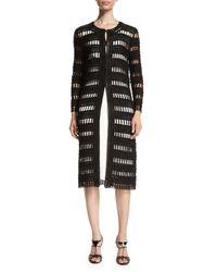 Oscar de la Renta - Black Spindle-cord Openwork Sweater Jacket - Lyst