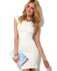 AKIRA - White Quilted Bodycon Dress - Lyst