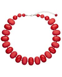 John Lewis - Red Oval Bead Necklace - Lyst