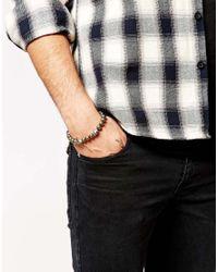 Simon Carter - Gray Pyrite Beaded Bracelet With Skull Exclusive To Asos for Men - Lyst
