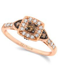 Le Vian | Pink Chocolate By Petite Chocolate And White Diamond Ring (3/8 Ct. T.w.) In 14k Rose Gold | Lyst