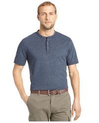 G.H. Bass & Co. - Blue Heathered Henley T-shirt for Men - Lyst