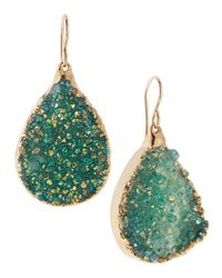 Devon Leigh - Blue Druzy Foil Teardrop Earrings - Lyst