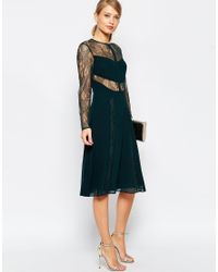 ASOS - Black Lace And Pleat Detail Midi Dress - Lyst