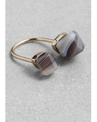& Other Stories - Black Diamond Open Ring - Lyst
