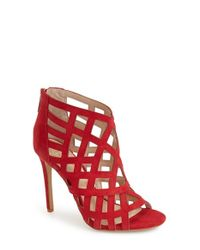 Vince Camuto | Red 'tatianna' Caged Peep Toe Bootie | Lyst