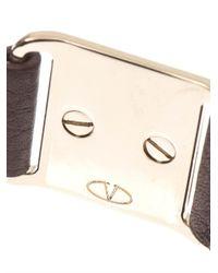 Valentino | Brown Rockstud Leather Bracelet | Lyst