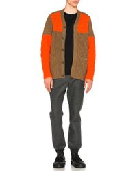 Sacai - Orange Cable Knit Cardigan - Lyst
